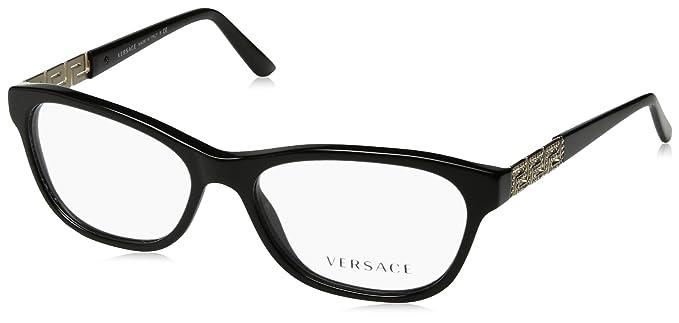Amazon.com: Versace VE3212B Eyeglass Frames GB1-52 - Black VE3212B ...