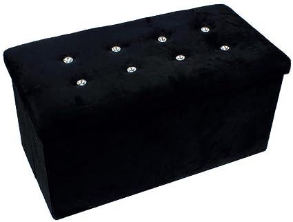 Negro Diamante De Terciopelo doble Otomano juguete caja de ...