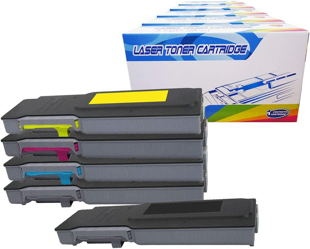 Inktoneram Compatible Toner Cartridges Replacement for Dell C2660dn C2665dnf High Yield 593-BBBU 593-BBBT 593-BBBS 593-BBBR ([2-Black,Cyan,Magenta,Yellow], 5-Pack)