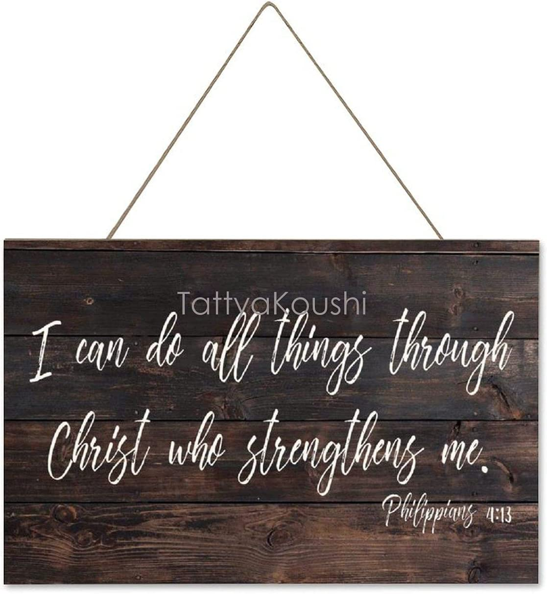Funny Wall Decor Sign, Farmhouse Rustic Decorations Wall Art, I Can Do All Things Through Christ Who Strengthens Me Wooden Plaque, New Home Gifts, 10 x 16 Inch