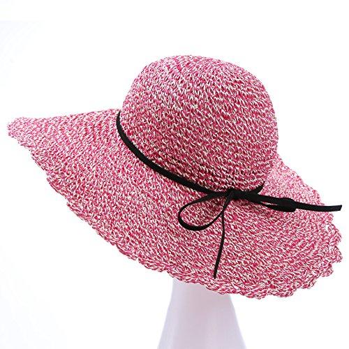 Mei red Women's Adjustable Beach Floppy Sun Hat