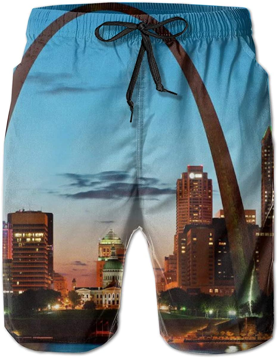 Mens Swim Trunks with Mesh Lining Pockets St Louis Skyline Boys Polyester Board Shorts Swimwear