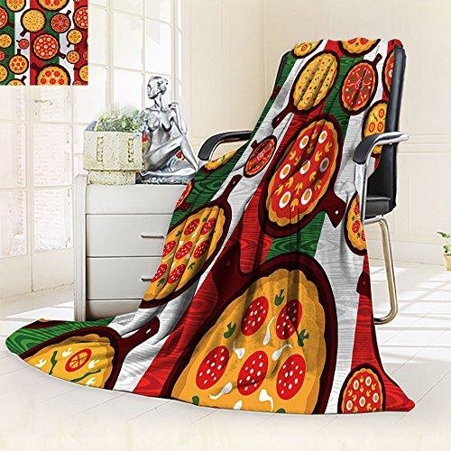 All-Season Super Soft Blanket Different Pizza flavors seamless pattern over wooden textured Italian flag bac,Silky Soft,Anti-Static,2 Ply Thick,Hypoallergenic Printed Fleece Blanket.(W50 x L60)