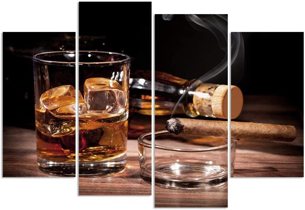 sechars - 4 Panel Modern Canvas Wall Art for Wall Whisky and Cigarette Picture Poster Print for Home Kitchen Bar Pub Western Decor Liquor Wall Art with Wood Frame Ready to Hang