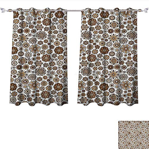 Qinqin-Home Blackout Draperies Garden Doodle Style Flourishing Corsage Bouquet Pattern Romantic Vintage Curly Brown Tan Light Yellow Darkening Blackout Drapes for Bedroom (W63 x L63 -Inch 2 Panels)