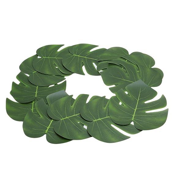 lalang 12pcs tropical leaves artificial palm leaves hawaiian luau
