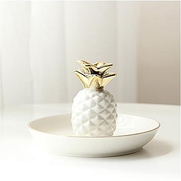 e03b29d1cf68 TYLIU Dormitorio decoraciones cerámicas nórdicos bandeja de joyas de oro  planta de bolas de hadas admitir la bandeja moderna casa columpio-