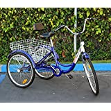 "New 6-Speed 24"" 3-Wheel Adult Tricycle Bicycle Trike Cruise Bike W/ Basket"