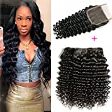 Brazilian Deep Wave With Closure 10A Grade 3 Bundles Human Hair Extensions With 4''x4'' Lace Closure Free Part Black Color (16 18 20 +14 free part lace closure)