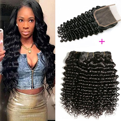 Brazilian Deep Wave With Closure 10A Grade 3 Bundles Human Hair Extensions With 4''x4'' Lace Closure Free Part Black Color (16 18 20 +14 free part lace closure) by B's Hair and Beauty Products