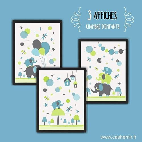 Affiche Enfant Décoration Chambre Bébé Garçon Déco Chambre Enfant  Illustration Murale Chambre Bébé éléphants Bleu Gris