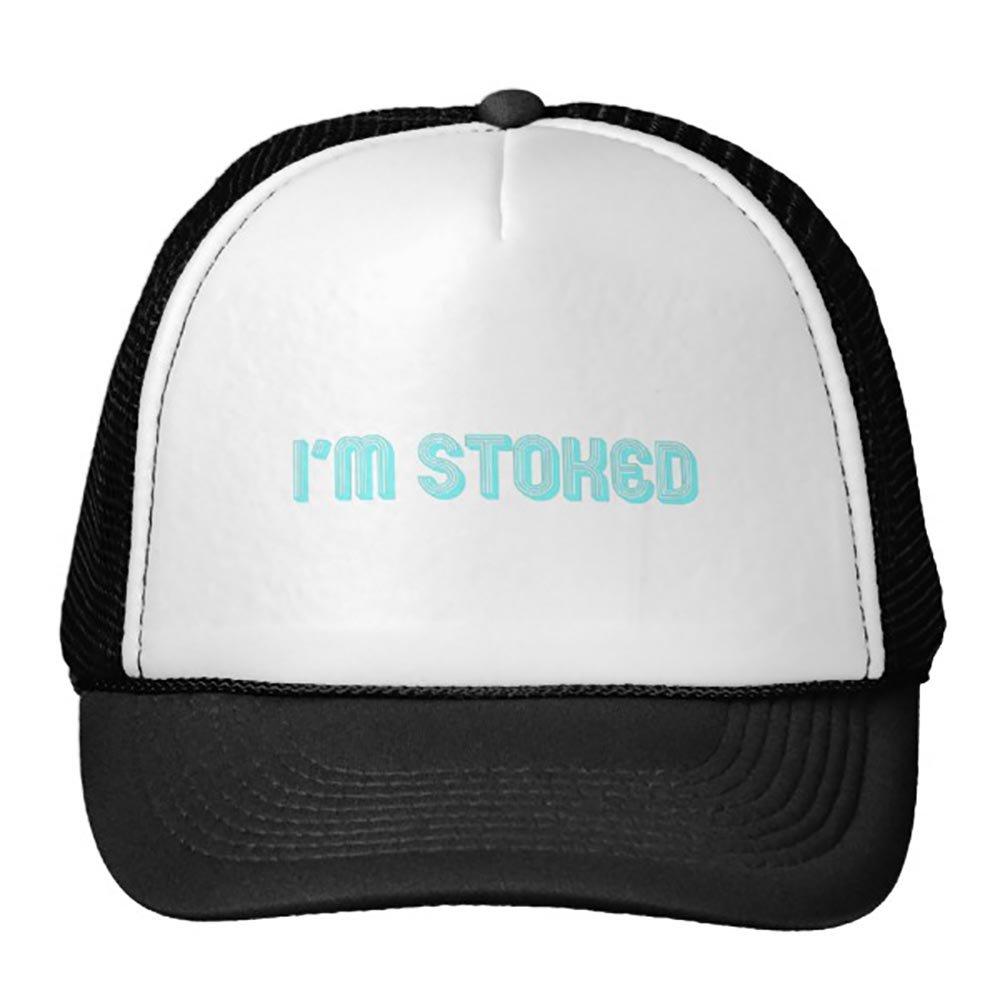 unisex Black I'M Stoked Blue Trucker Hat
