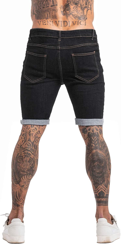 GINGTTO Mens Denim Shorts Slim Fit Shorts for Men Jeans Skinny Stretch Black 30