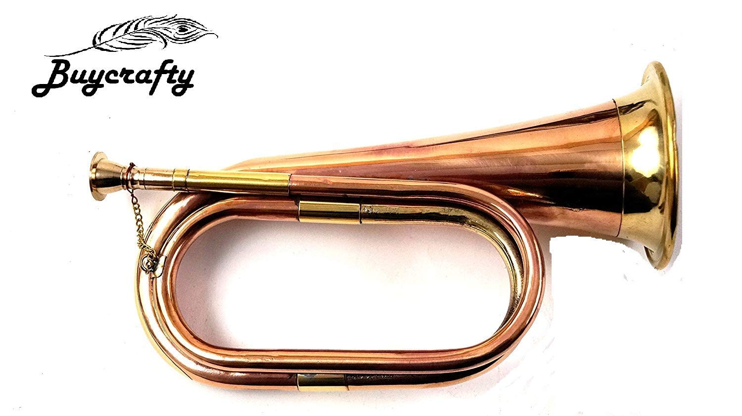 5billion Real Full Size Pure Brass Bugle To Play Brown for School Band Cavalry Miltary Orchestra
