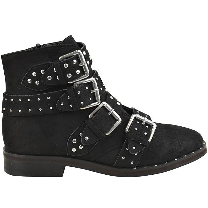 Fashion Thirsty Mujer con tachuelas Botines Bajos Tiras Motero hebillas Amelia Nuevo Talla: Amazon.es: Zapatos y complementos