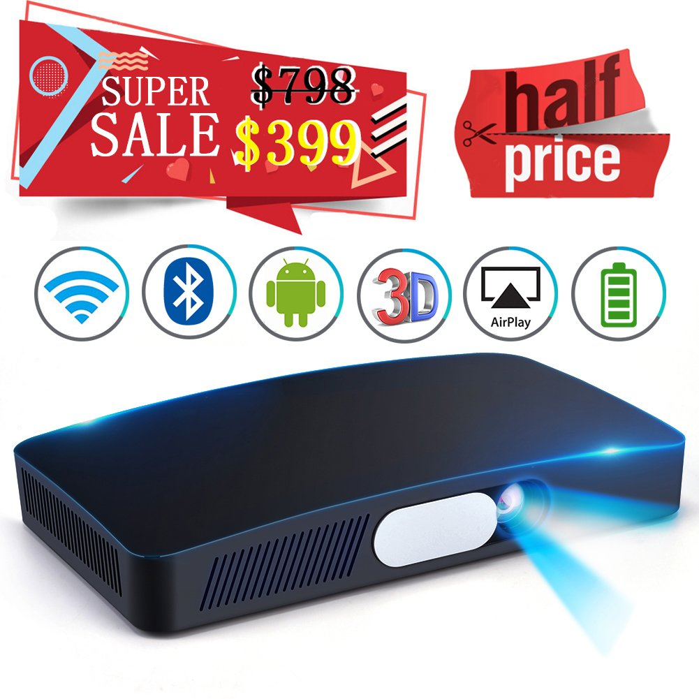 Mini HD 3D Projector Multimedia 5.5''~200'' Home Video Theater 3000 Luminous Game Office Support 1080P WIFI Bluetooth HDMI USB SD Card VGA AV for Home Cinema TV Laptop Tablet iPhone Android