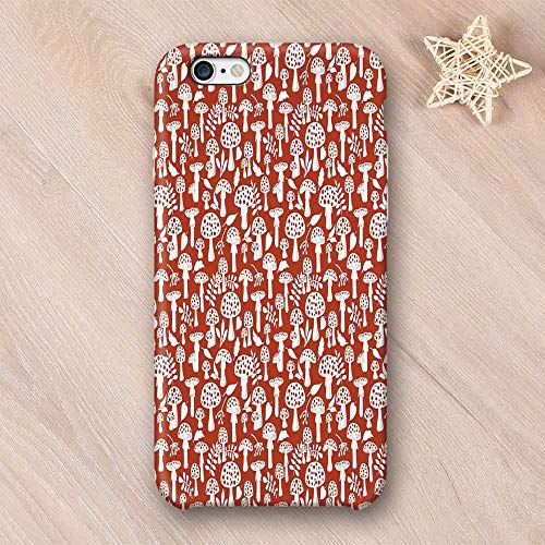- Mushroom Non Fading Compatible with iPhone Case,Cute Amanita Pattern with Leaves Berries Poisonous Plants Cartoon Style Decorative Compatible with iPhone 6 Plus / 6s Plus,iPhone 6/6s