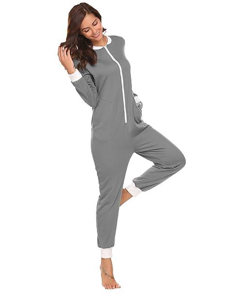 sneakers for cheap b3967 cc766 Schlafoverall Damen Jumpsuit Overall Pyjama Onesie Einteiler Lang Strampler  Kuschelig Schlafanzug Nachtwäsche Langarmshirt Playsuit mit Reißverschluss