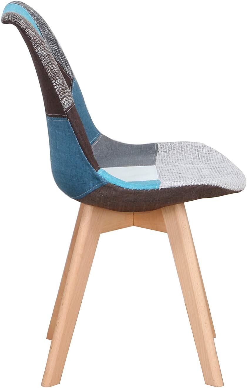 N/A Set of 4 dining chairs, upholstered patchwork retro chair, dining room, kitchen, bedroom, office chair (with solid beech legs) (Red, 4) Blue