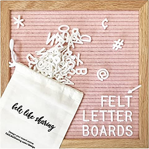 Light Pink Felt Letter Board 10x10 Inches. Changeable Letter Boards Include 300 White Plastic Letters & Oak - Message Board Letter