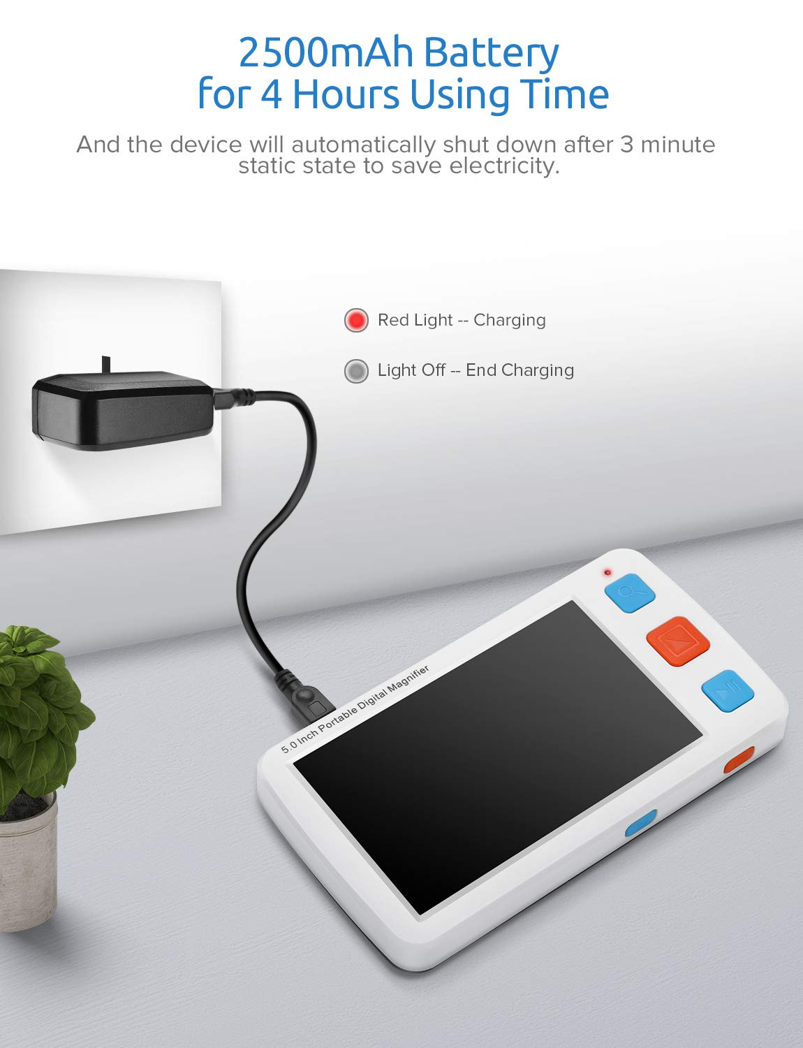 Eyoyo Portable Digital Magnifier Electronic Reading Aid 5.0 inch w/Foldable Handle for Low Vision Color Blindness 4X-32X Times Zoom 17 Color Modes 5 Levels for Brightness by Eyoyo (Image #7)