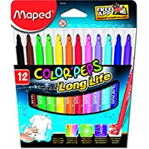 Maped Color Peps Long Life Felt Tip Markers, Box of 12 Assorted Colours (845020)