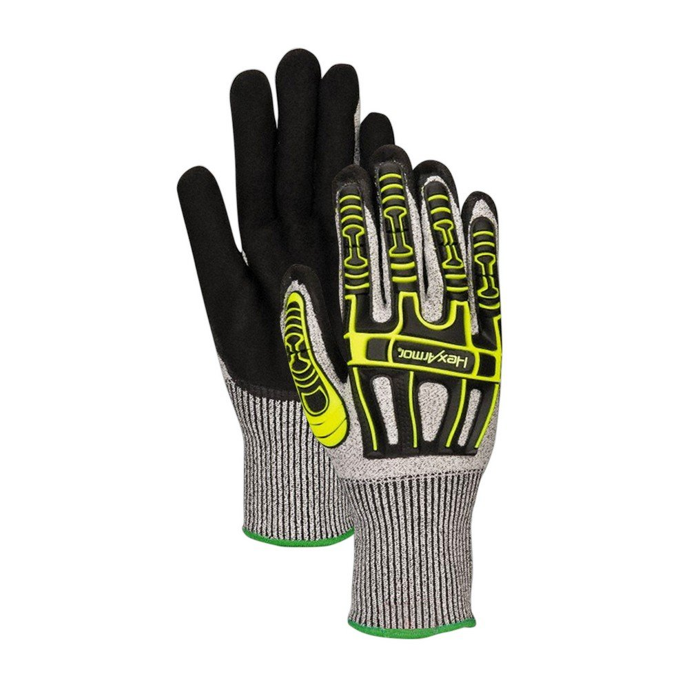 HexArmor 2090-XXL  Rig Lizard Thin Lizzie 2090 Impact Gloves with HPPE Shell, Cut Level A4, 2XL, Black, Gray/Yellow (Pack of 12)