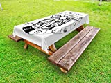 Ambesonne Zodiac Gemini Outdoor Tablecloth, Monochrome Zodiac Wheel and Male Twins in Ancient Greek Style Clothes, Decorative Washable Picnic Table Cloth, 58 X 84 inches, Black and White