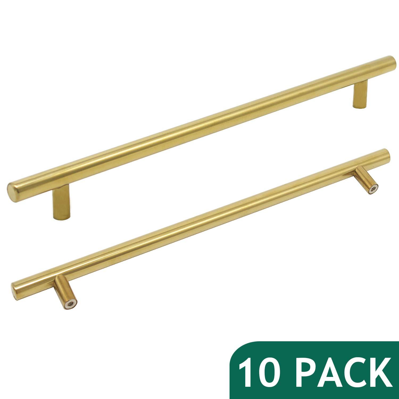 """Probrico 10"""" Hole Centers Brushed Brass Kitchen Cabinet Euro Bar Pulls Gold Bathroom Drawer Handles furniture Dresser Golden Bar Pulls Set(10 Pack)"""