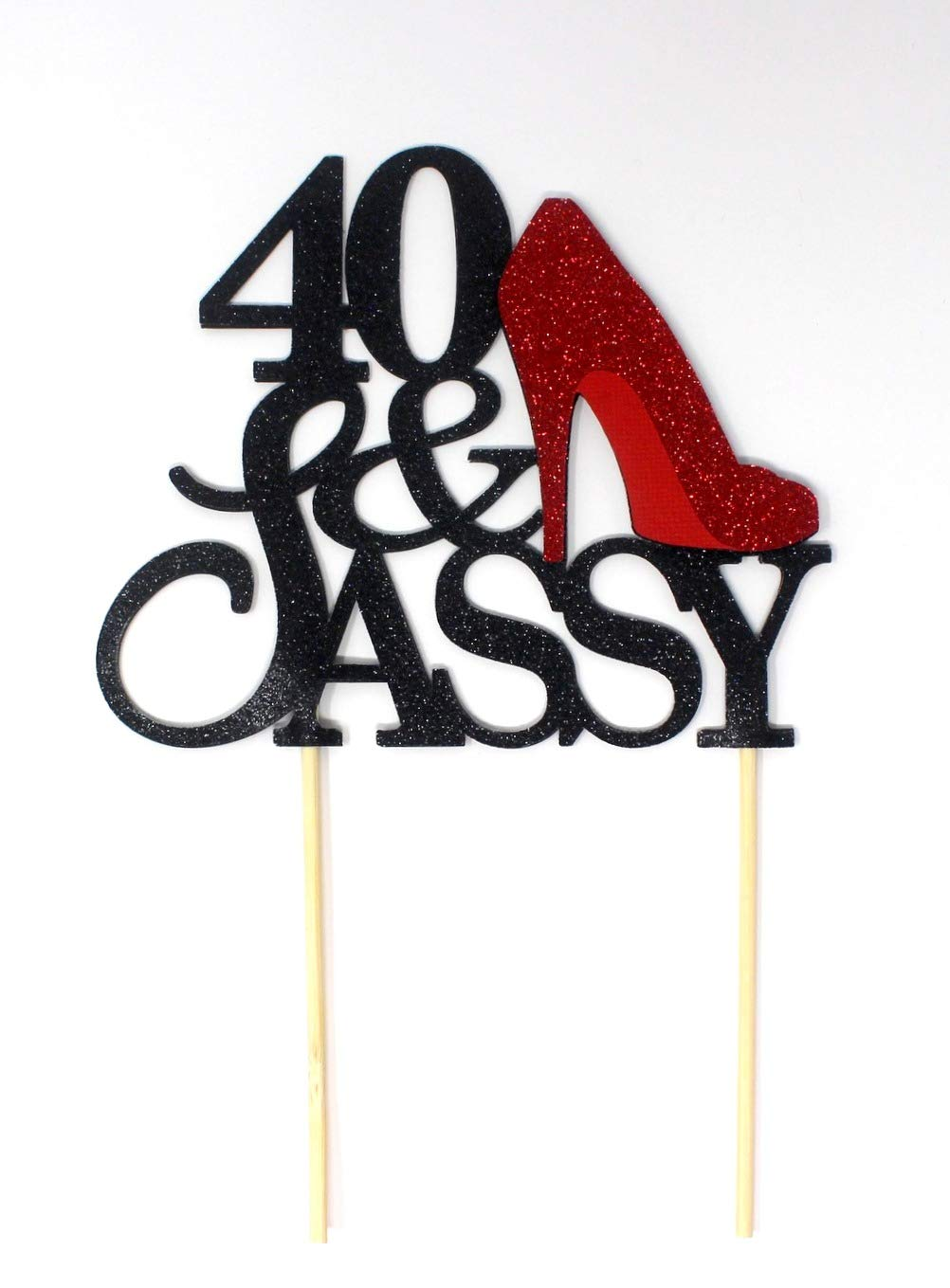 All About Details CAT40SABRE 40 and Sassy Cake Topper (Black and Red), 6in Wide and 5in Tall with 2-pcs of 4in Wood skewers.