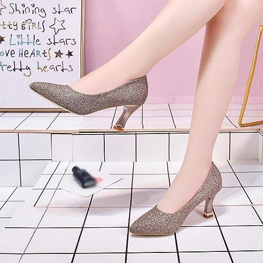 Darringls_Zapatos para Mujer,Zapatillas Punta Estrecha de Las Mujeres Respirable Slip-On Lentejuelas Trabajos Ocasionales Fiesta Zapatos Individuales: ...