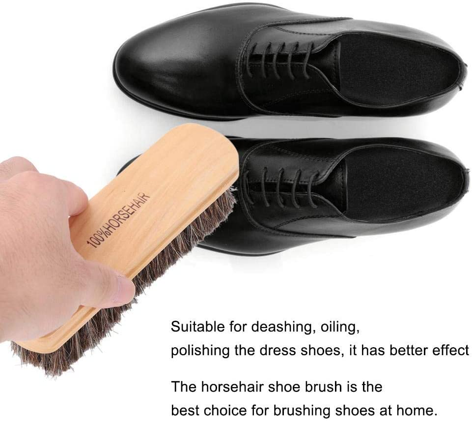 Natural Wood Color L HEEPDD 2Pcs Wooden Horsehair Shoe Shine Brushes Red Soft Genuine Horse Hair Bristles Leather Care Protecting Oiling Polishing Tool