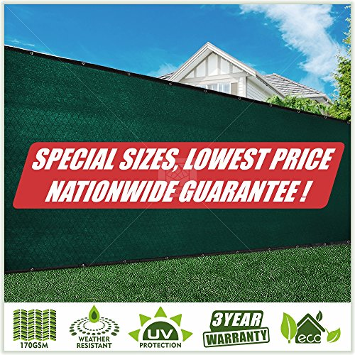 ColourTree 6' x 10' Green Fence Privacy Screen Windscreen Cover Fabric Shade Tarp Netting Mesh Cloth Green - Commercial Grade 170 GSM - Heavy Duty - 3 Years Warranty ()