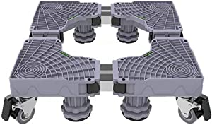 Washing Machine Base,Multi-Functional Adjustable Base Stand Movable Adjustable Bases 4 Strong Feet Multi-Functional 8Locking Rubber Swivel Wheels Roller For Cookers Dryer