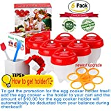 #6: Egglettes Egg Cookers holder,Egg Cooker 6pack,Upgrade-Real test video, Boiled Eggs No shell,hard&Soft Maker!Add both to cart,Payment together- Get FREE Holder!!!NO-BPA,Non Stick Silicone,As seen On TV
