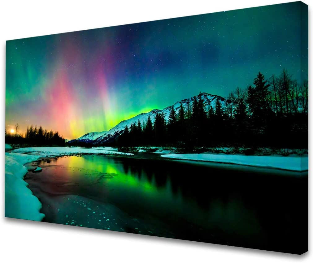 S01969 Wall Art HD Aurora Scenery Painting on Canvas Prints Stretched and Framed Pictures to Photo Ready to Hang for Home Decorations Office Wall Decor 24X36 inch