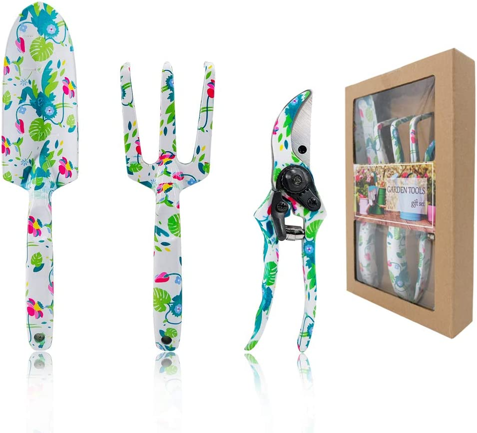 Hortem 3PCS Floral Gardening Tools for Women, Heavy Duty Aluminum Garden Tool Set with Beautiful Printing and Ergonomic Design Handles, Best Garden Gifts for Mom and Lady