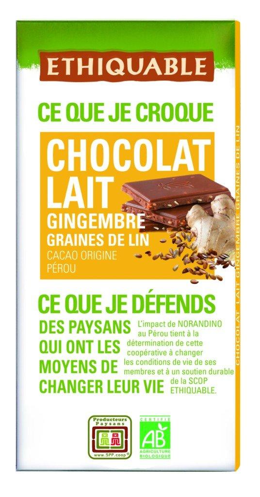 Ethiquable Chocolate Leche, Jengibre y Lino Bio - 100 gr: Amazon.es: Alimentación y bebidas