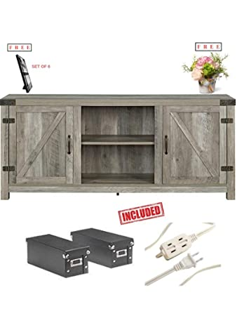 Home Accent Furnishings New 58 Inch Barn Door Television Stand in Gray Finish with Free