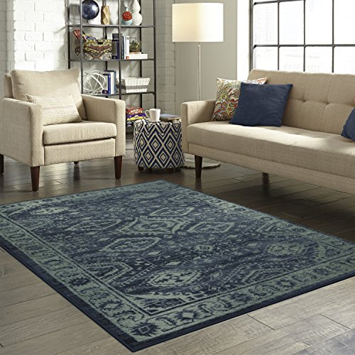 Maples Rugs Area Rug - Georgina 5 x 7 Large Area Rugs [Made in USA] for Living Room, Bedroom, and Dining Room, Navy Blue/Green ()