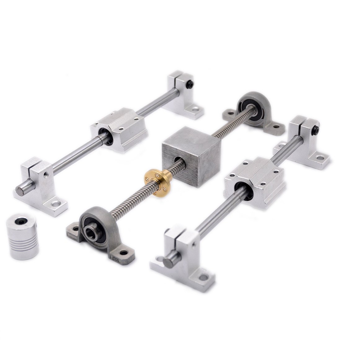 3D Printer Guide Rail Sets T8 Lead Screw Pitch 2mm Lead 8mm Length 200mm + Linear Shaft 8X200mm + KP08 SK8 SC8U + nut housing +D19L25 5x8mm Coupling (200mm) by Ogry (Image #1)
