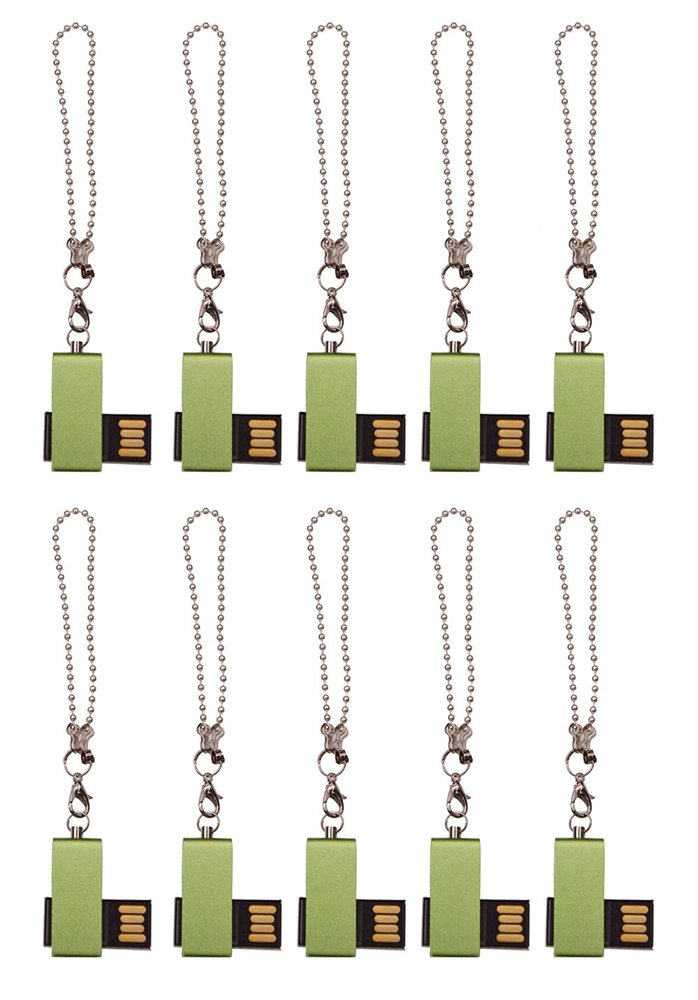 Mini Metal Swivel Green 8GB USB 2.0 Flash Drive - Bulk Pack of 10 by FEBNISCTE
