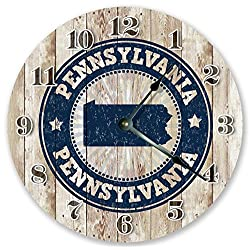 10.5 PENNSYLVANIA STATE RUBBER STAMP CLOCK Large 10.5 Wall Clock - Home Décor Clock