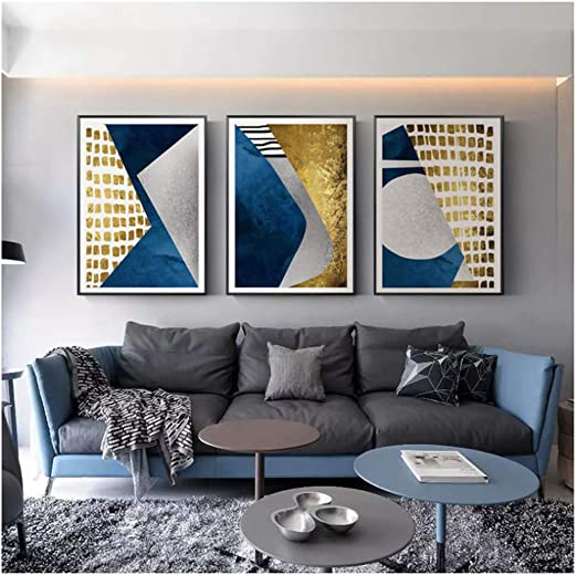Hsffbhfbh Wall Art Picture Print Modern Abstract Blue Gold Moon Geometry Mountain Poster For Living Room Decor Canvas Painting 40x50cm 15 7 X19 7 X3 No Frame Amazon Co Uk Kitchen Home