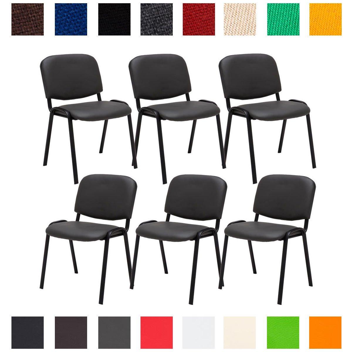 CLP 6X Konferenzstuhl Ken mit Stoffbezug oder Kunstlederbezug I 6 x Stapelstuhl mit robustem Metallgestell I erhältlich Kunstlederbezug  Grau