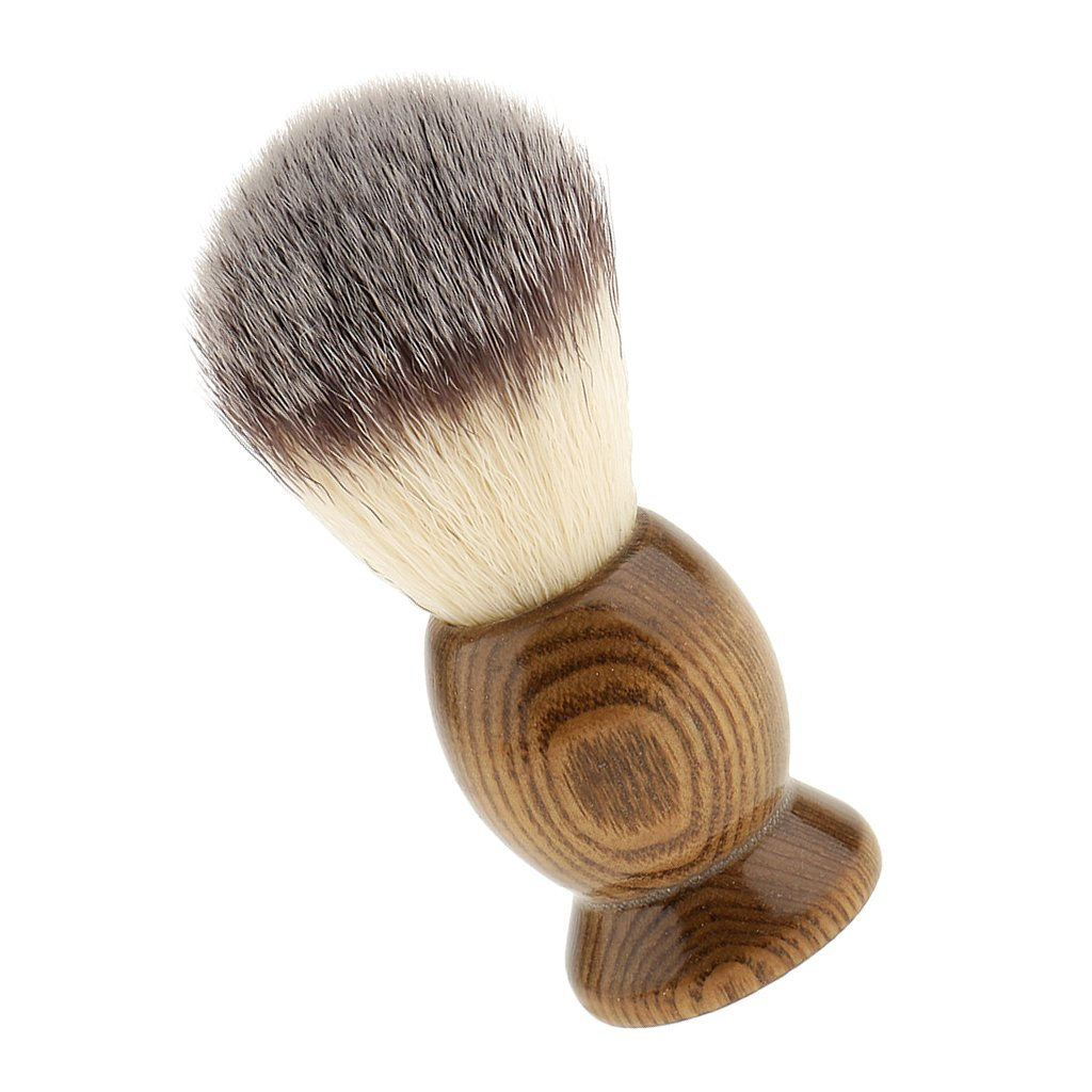 MagiDeal Professional Wood Salon Barber Men Shaving Brush Mens Long Handle Shave Tool - 01, as described