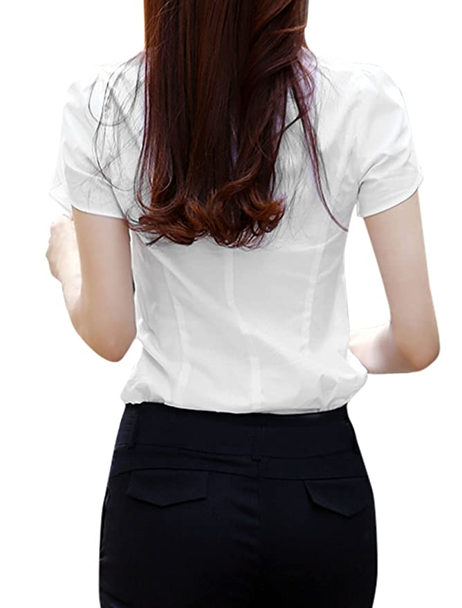 Lady Petal Sleeve Single Breasted Plastic Crystal Decor Shirt White L at Amazon Womens Clothing store:
