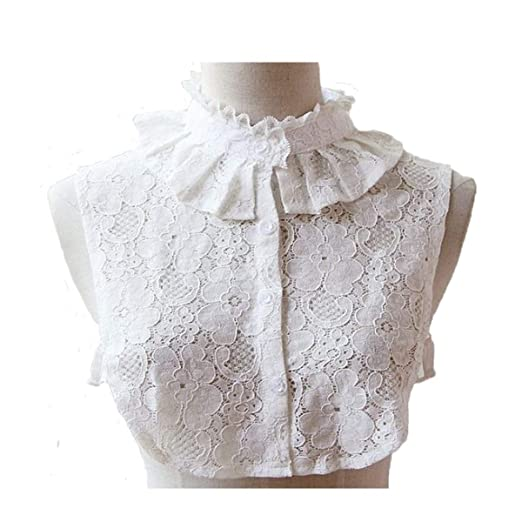 85433ea9693057 Amazon.com: Bluefun Womens Half Shirt Lace Stand Collar Vintage Fake Shirt  Collar, White: Clothing