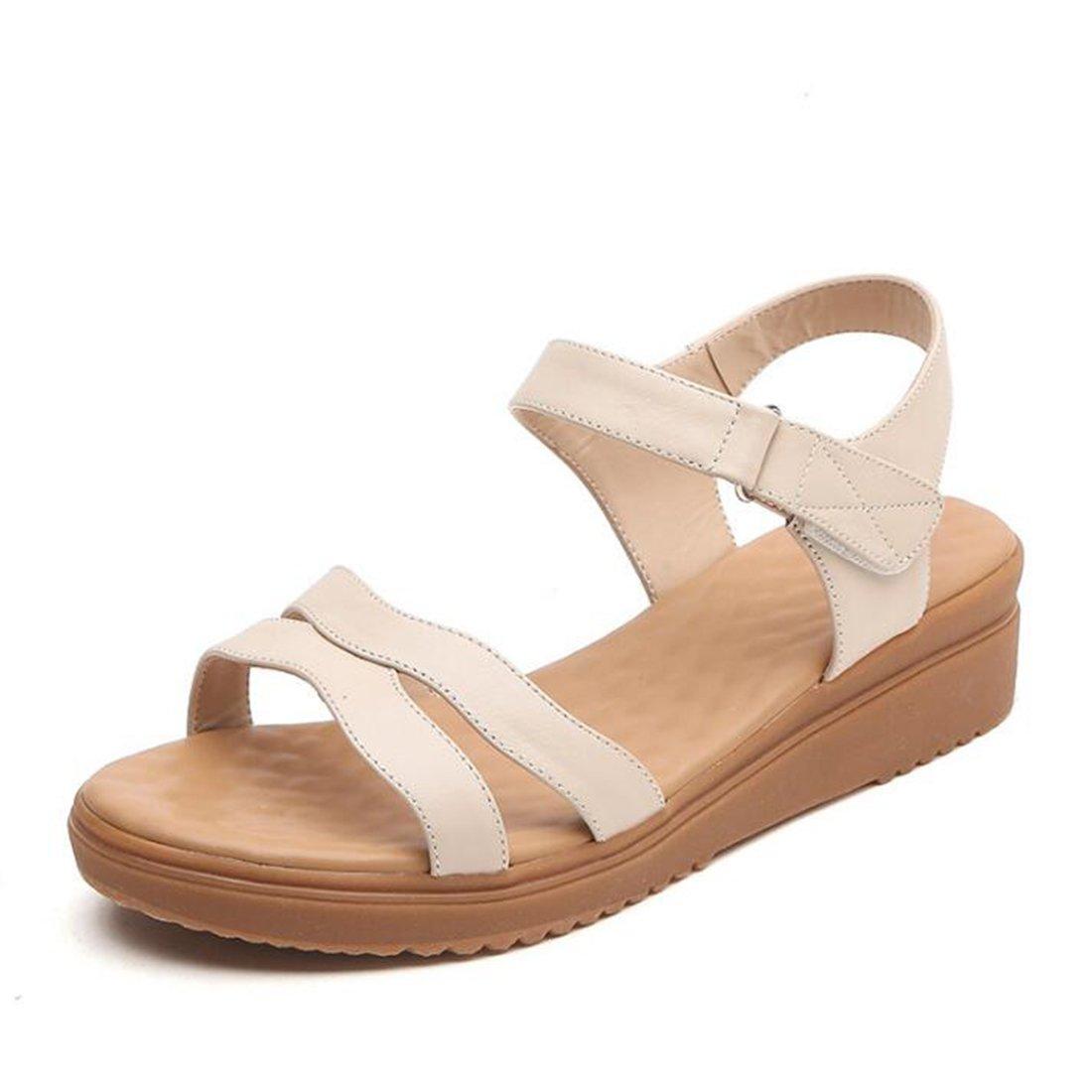 ZHONGST Frau Sommer Leder Sandalen Casual Fashion Plattform Atmungs Sandalen  38|Beige