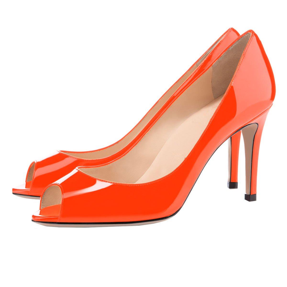 Eldof Women Pumps Peep Toe Pumps Mid-Heel Pumps Women Formal Wedding Bridal Classic Heel Open Toe Stiletto B07F1NBX66 8 B(M) US|Orange a20b10